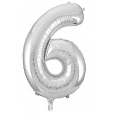 34inch Decrotex Foil Balloon Numeral Silver #6 Shaped P1