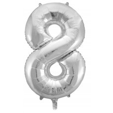 34inch Decrotex Foil Balloon Numeral Silver #8 Shaped P1
