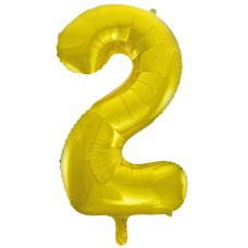 34inch Decrotex Foil Balloon Numeral Gold #2 Shaped P1