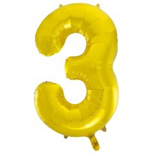 34inch Decrotex Foil Balloon Numeral Gold #3 Shaped P1