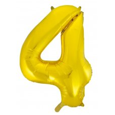 34inch Decrotex Foil Balloon Numeral Gold #4 Shaped P1