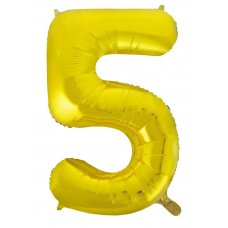 34inch Decrotex Foil Balloon Numeral Gold #5 Shaped P1