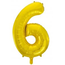 34inch Decrotex Foil Balloon Numeral Gold #6 Shaped P1