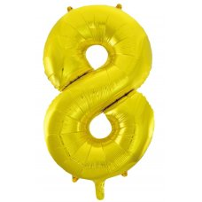 34inch Decrotex Foil Balloon Numeral Gold #8 Shaped P1