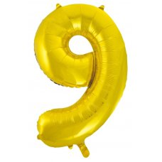 34inch Decrotex Foil Balloon Numeral Gold #9 Shaped P1