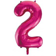 34inch Decrotex Foil Balloon Numeral Magenta #2 Shaped P1