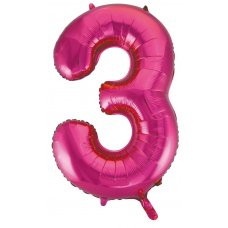 34inch Decrotex Foil Balloon Numeral Magenta #3 Shaped P1