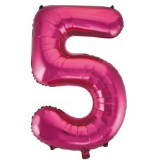 34inch Decrotex Foil Balloon Numeral Magenta #5 Shaped P1