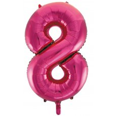 34inch Decrotex Foil Balloon Numeral Magenta #8 Shaped P1