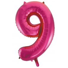 34inch Decrotex Foil Balloon Numeral Magenta #9 Shaped P1
