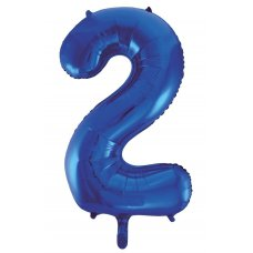 34inch Decrotex Foil Balloon Numeral Blue #2 Shaped P1