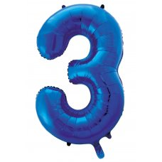 34inch Decrotex Foil Balloon Numeral Blue #3 Shaped P1