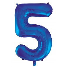 34inch Decrotex Foil Balloon Numeral Blue #5 Shaped P1