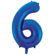 34inch Decrotex Foil Balloon Numeral Blue #6 Shaped P1