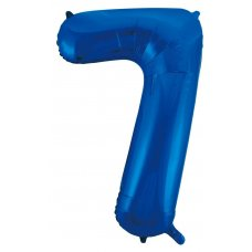 34inch Decrotex Foil Balloon Numeral Blue #7 Shaped P1