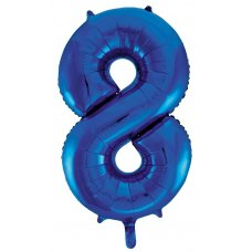 34inch Decrotex Foil Balloon Numeral Blue #8 Shaped P1