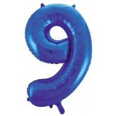 34inch Decrotex Foil Balloon Numeral Blue #9 Shaped P1