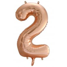 34inch Decrotex Foil Balloon Numeral Rose Gold #2 Shaped P1