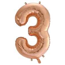 34inch Decrotex Foil Balloon Numeral Rose Gold #3 Shaped P1