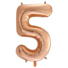 34inch Decrotex Foil Balloon Numeral Rose Gold #5 Shaped P1
