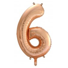 34inch Decrotex Foil Balloon Numeral Rose Gold #6 Shaped P1