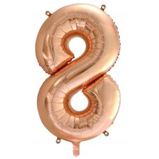 34inch Decrotex Foil Balloon Numeral Rose Gold #8 Shaped P1
