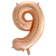 34inch Decrotex Foil Balloon Numeral Rose Gold #9 Shaped P1