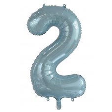 34inch Decrotex Foil Balloon Numeral Light Blue #2 Shaped P1