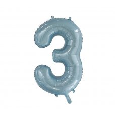 34inch Decrotex Foil Balloon Numeral Light Blue #3 Shaped P1