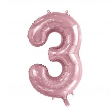 34inch Decrotex Foil Balloon Numeral Light Pink #3 Shaped P1
