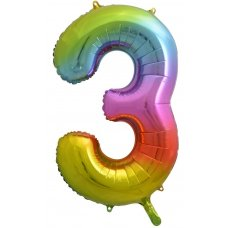 34inch Decrotex Foil Balloon Num Rainbow Splash #3 Shaped P1