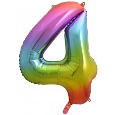 34inch Decrotex Foil Balloon Num Rainbow Splash #4 Shaped P1