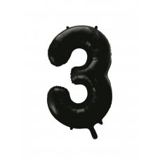 34inch Decrotex Foil Balloon Numeral Black #3 Shaped P1