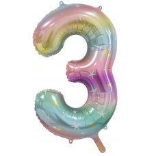 34inch Decrotex Foil Balloon Num Pastel Rainbow #3 Shaped P1