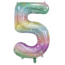 34inch Decrotex Foil Balloon Num Pastel Rainbow #5 Shaped P1