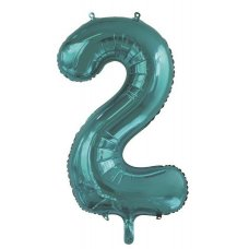 34inch Decrotex Foil Balloon Number Teal #2 Shaped P1