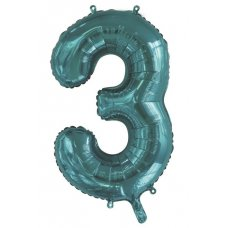 34inch Decrotex Foil Balloon Number Teal #3 Shaped P1