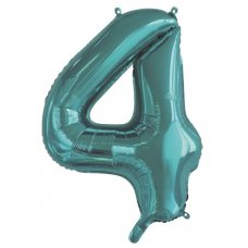 34inch Decrotex Foil Balloon Number Teal #4 Shaped P1
