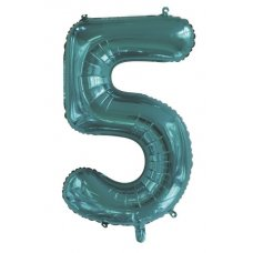 34inch Decrotex Foil Balloon Number Teal #5 Shaped P1