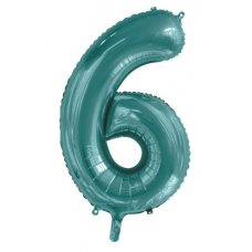 34inch Decrotex Foil Balloon Number Teal #6 Shaped P1