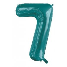 34inch Decrotex Foil Balloon Number Teal #7 Shaped P1