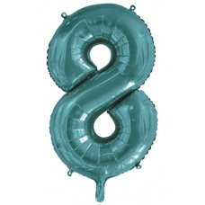 34inch Decrotex Foil Balloon Number Teal #8 Shaped P1