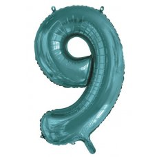 34inch Decrotex Foil Balloon Number Teal #9 Shaped P1