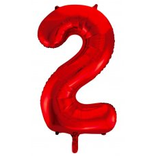 34inch Decrotex Foil Balloon Number Red #2 Shaped P1