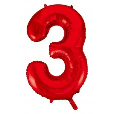 34inch Decrotex Foil Balloon Number Red #3 Shaped P1