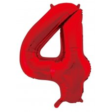34inch Decrotex Foil Balloon Number Red #4 Shaped P1