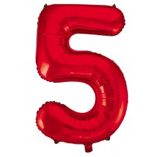34inch Decrotex Foil Balloon Number Red #5 Shaped P1