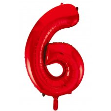 34inch Decrotex Foil Balloon Number Red #6 Shaped P1