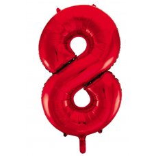 34inch Decrotex Foil Balloon Number Red #8 Shaped P1