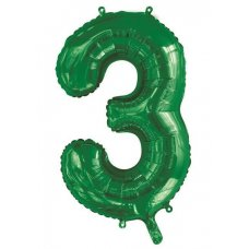 34inch Decrotex Foil Balloon Number Green #3 Shaped P1